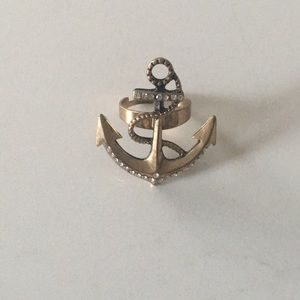 Jewelry - Gold Anchor ring - Size Adjustable